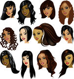 Brunette-Frauen-Gesichter lizenzfreie abbildung
