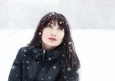 Brunette in a frosty day Royalty Free Stock Image
