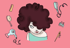 Brunette funny hair. A funny curly hairstyle of a brunette girl, with many hair accessories. Digital colors Royalty Free Stock Images