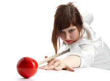 Brunette game of billiards Royalty Free Stock Images