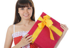 Brunette with a gift Stock Image