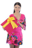 Brunette with a gift Royalty Free Stock Images