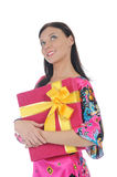 Brunette with a gift Stock Photo