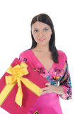Brunette with a gift Royalty Free Stock Photo