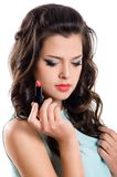 Brunette gir with red lipstick Stock Images