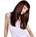 Brunette girl. Isolated on white background royalty free stock photography