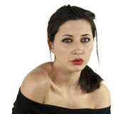 Brunette girl 2. Beautiful  brunette girl with green eyes and red lips isolated on white background Stock Image