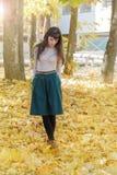 Brunette girl in autumn park Royalty Free Stock Photo