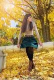Brunette girl in autumn park Stock Photos