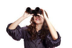 Brunette girl with binocular. Royalty Free Stock Image