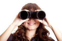 Brunette girl with binocular. Royalty Free Stock Photos