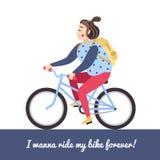 Brunette girl on the blue bike. Vector illustration and background. Stock Image