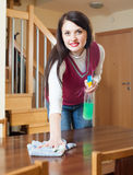 Brunette girl cleaning table Royalty Free Stock Images