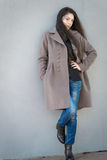 Brunette girl in coat. Royalty Free Stock Photography