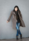 Brunette girl in coat. Royalty Free Stock Images