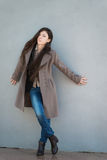 Brunette girl in coat. Stock Photography