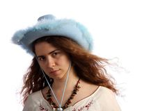 Brunette girl with cowboy hat Royalty Free Stock Image