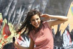 Brunette girl dancing Stock Image