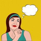 Brunette girl dreaming, pop art Stock Images