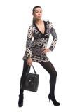 Brunette girl in dress holding bag. Studio shot Royalty Free Stock Photo