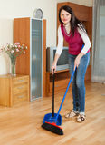 Brunette  girl with dustpan and brush Royalty Free Stock Image