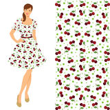Brunette girl in elegant dress with cherry pattern. Vector illustration of young brunette girl in elegant dress isolated on white background. Fifties style of Stock Photo