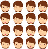 Brunette girl emotions: joy, surprise, fear, sadness, sorrow, cr Royalty Free Stock Images