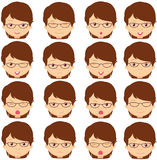 Brunette girl emotions: joy, surprise, fear, sadness, sorrow, cr Royalty Free Stock Image