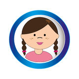 Brunette girl face with braided hair in circular frame Royalty Free Stock Photography