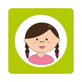 Brunette girl face with braided hair in square frame Royalty Free Stock Photos