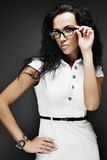 brunette girl in glasses Royalty Free Stock Photo