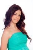 Brunette girl with green dress Stock Photos