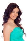 Brunette girl with green dress Stock Photo