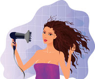 Brunette girl with hairdryer Royalty Free Stock Photo