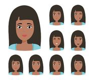 Brunette girl with happy, angry, unhappy, laughing, scared, wow, fun emotions. Vector Illustration vector illustration