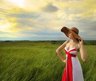 Brunette girl in hat in summer day Stock Photo
