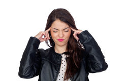 Brunette girl with headache Stock Image