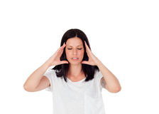 Brunette girl with headache Royalty Free Stock Photos
