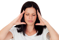 Brunette girl with headache Stock Photo