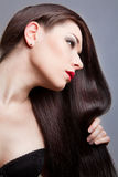 Brunette Girl with Healthy Long Hair Royalty Free Stock Photos