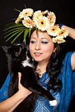 Brunette girl and her cat Royalty Free Stock Photo