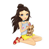 Brunette Girl Hold Puppy royalty free illustration