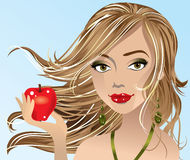 Brunette girl holding apple Stock Images