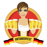 Brunette girl holding beer mugs with oktoberfest ribbon below Stock Images