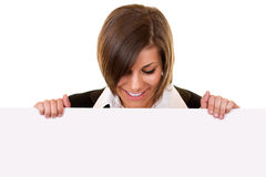 Brunette girl holding big board Stock Image