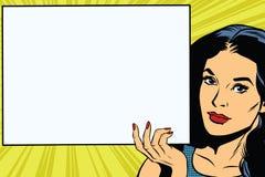 Brunette girl holding a blank rectangular poster Stock Photos