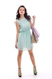 Brunette girl  holding shopping bag Royalty Free Stock Photo