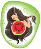 Brunette girl holding a watermelon. Template label shampoo Stock Photo