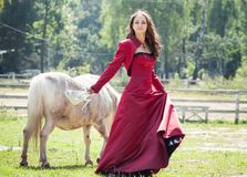 Brunette girl and horse Stock Image