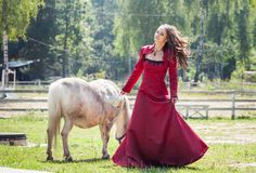 Brunette girl and horse Stock Images